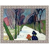 LuxHomeDecor marco impresión sobre lienzo con marco de madera Edvard Munch Avenue in the snow