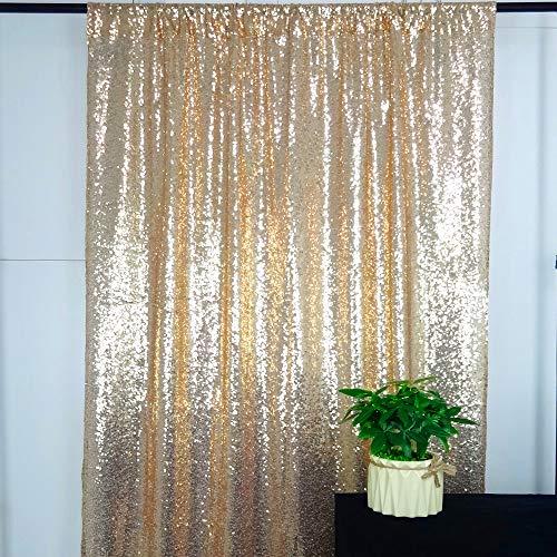 HeMiaor Pailletten-Vorhänge mit Weihnachtsmotiv, Textil, champagnerfarben, 4x7ft