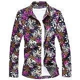 MOGU Herren Floral Bedruckte Freizeit Regular Fit Button Down Langarm Hemd XXL (Asiatisch 4XL Violett