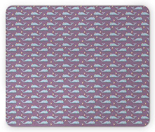 Pad, Crown Wearing and Sleeping Whales in the Night with Moon, Standard Size Rectangle Non-Slip Rubber Mousepad, Peach Baby Blue and Grey Pink ()
