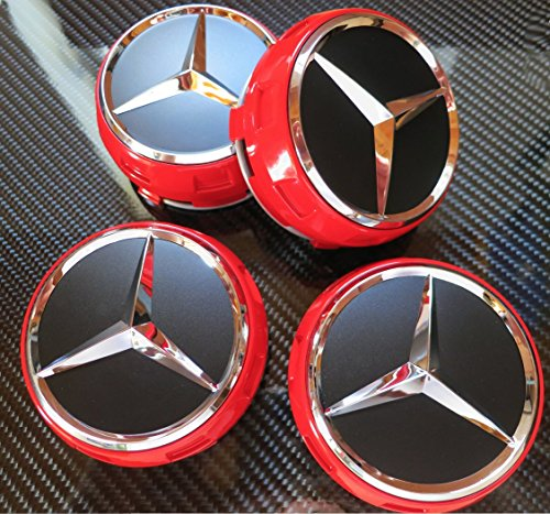 4x-mercedes-amg-wheel-centre-caps-red-black-silver-grey-75mm-a-b-c-d-s-slk-a45-amg-red