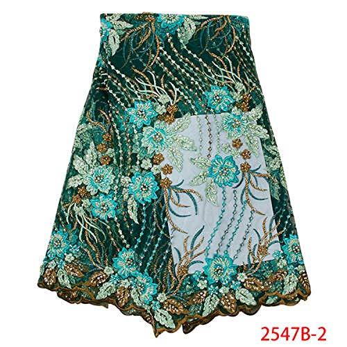 Beliebte Hochzeit Spitze-Gewebe-Blumen 3D Nigerian Spitze-Gewebe für Abend-Partei-Kleid Französisch Tüll Stoff, 2547B-2 (Türkis Kopf Wickeln)