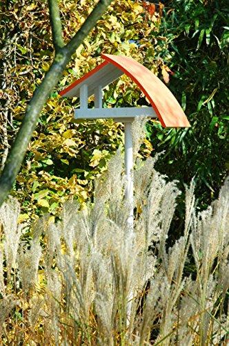 """Luxus-Vogelhaus 31012e Design Vogelhaus """"New Wave"""" aus Holz (Kiefer) für Garten, Balkon, mit Ständer, Schrägdach, Farbe: weiߟ-orange – Vogelhäuschen Vogel-Futterhaus - 2"""