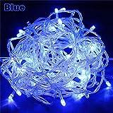 WSYYWD Navidad al aire libre led luces de cadena luces de vacaciones guirnalda de árbol en la cadena de LED Azul 100M 600LED EU 220V