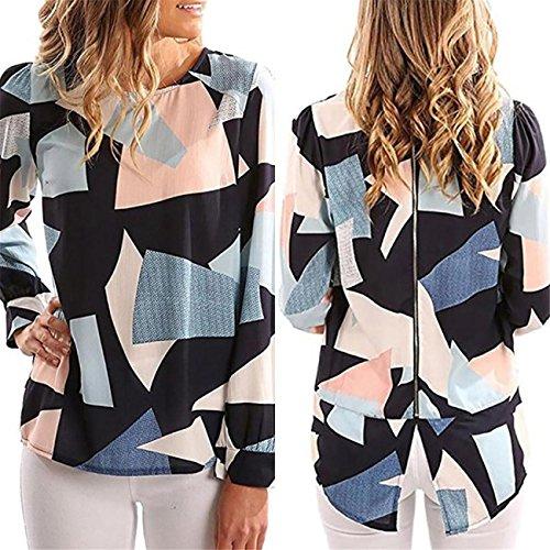 LHWY Damen Casual Hot Color Print Long Sleeve Zipper Back Top Bluse Multicolor