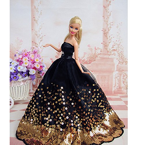 Image of Yacool® 1 PCS High quality Fashion Wedding Party Gown Bling Dresses & Clothes for Barbie Doll- Black