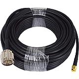 YILIANDUO N Macho a SMA Conector Cable coaxial RF con Antena bidireccional de RG58de Baja pérdida de 15 Metros Aplicaciones y