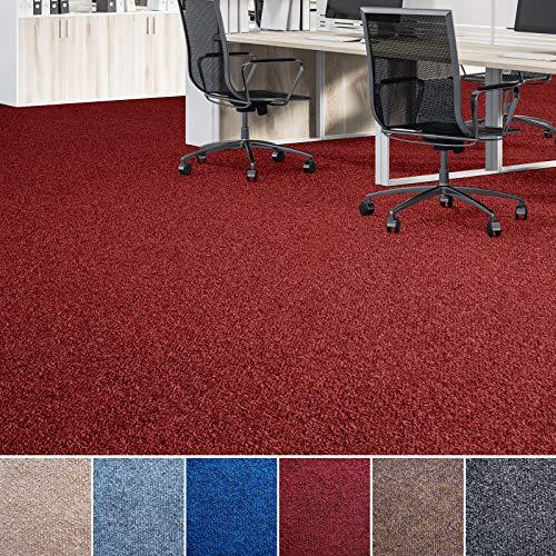 Floori® Nadelfilz Teppich, GUT-Siegel, Emissions- & geruchsfrei, wasserabweisend | Viele Farben & Größen (300x200 cm, rot)
