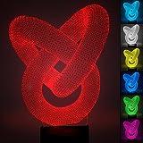 Creativa Abstracto 3D Led luz de la noche, FZAI Amazing Optical Illusion 7 colores niños Dormitorio Mesa Lámparas de escritorio Touch Switch Great Gifts