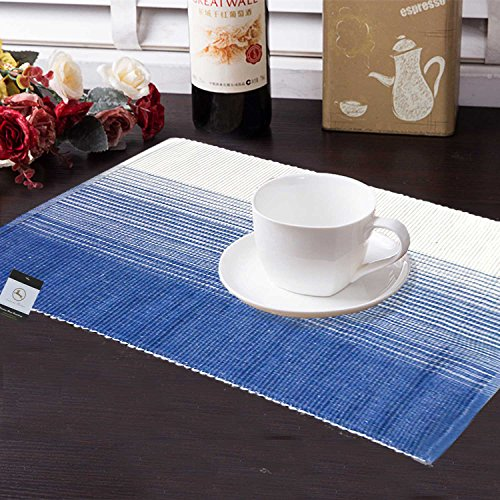 Avioni Premium Cotton Ribbed Table Mats Horizon Collection Export Quality Blue shades...