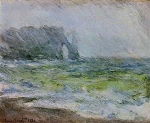 Huile sur toile - 24 x 20 inches / 61 x 51 CM - Claude Monet - Etretat sous la pluie