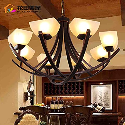 Ancernow caldo retrò creativo E27 Edison lampade a sospensione Arte di ferro Lampadari per soggiorno, camera da letto, camera bambini, bar, café, ristorante,Rr2222#,Testa 6