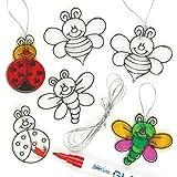 Lot de 12 Mini Décorations Attrape-Soleil Insectes à colorier pour enfants