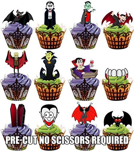 Vorgeschnittener Halloween Vampir Party Mix - Essbare Cupcake Topper / Kuchendekorationen (36 Stück)