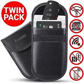 ACENTIX 2 x Autschlüssel Signal Blocker Beutel, Faraday Tasche für Autoschlüssel, Zugangsschutz für Key Fob -Faradaysche Tasche blockiert RFID/NFC/WIFI/GSM/LTE, Universeller Schutz (2 Stück/Schwarz)