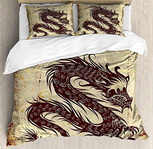 Japanischer Drache 3-teiliges Bettwäscheset Bettbezug-Set, Antikpapier-Grunge-Hintergrund mit alter asiatischer Zauberfigur, 3-teiliges Tröster- / Qulit-Bezug-Set mit 2 Kissenbezügen, Braun-Gelb-Beige -