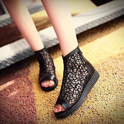 Peep Toe Pump Charming Dick Stiefel Lace Cool Stiefel 40/41/42/43 Große Sandalen für Frauen Black