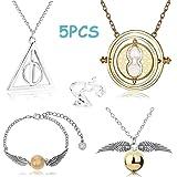 BETOY Inspired Necklace Set Collar de 5 Piezas Pulsera Gold Snitch Bracelet Anillo Plata para Cosplay, joyería para Mujer y n