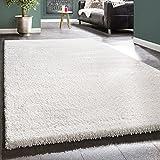 PHC Shaggy Teppich Rio XXL Super Shaggy Hochflor Langflor Uni Teppich Schnee Weiss, Grösse:133x190 cm