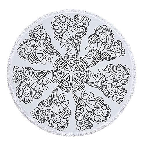 LYJZH Rundes Strandtuch- Indien Mandala Print Mikrofaser Strandtuch Bad Mann mit Fransen Schal Tapisserie Picknick Matte - 01 150 * 150cm