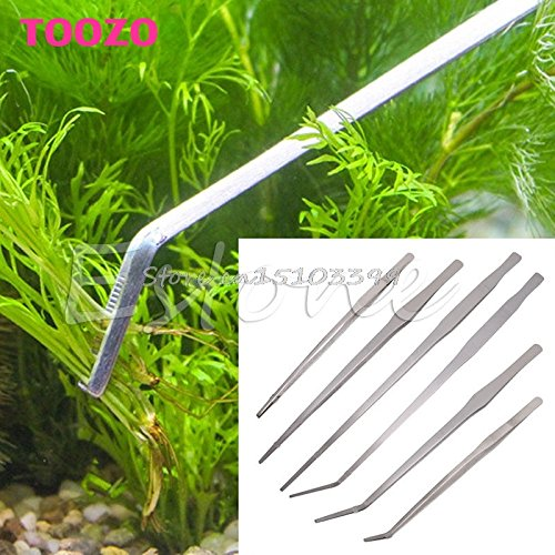 Generic Red : Aquarium Live Tank Curve Plant Long Tongs Stainless Steel Tweezers 27/38/48cm -Y121 Best Quality