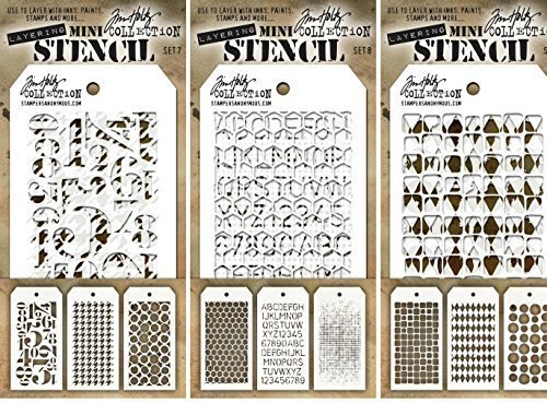 Tim Holtz - Mini Layering Stencils - Sets #7, #8, & #9 - 9 Mini Stencils - Numeric, Houndstooth, Rings, Honeycomb, Schoolhouse, Dot Fade, Tiles, Harlequin & Splotches by Tim Holtz - Tim Holtz Dots