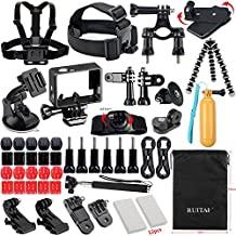 RUITAI Accessories Bundle Kit for GoPro Hero 4 3+3 2 1 Black Silver and SJ400 SJ500 SJ600 Accessory Kit ,Sports Camera Accessory in Swimming Rowing Surfing Skiing Climbing Running Bike Riding Camping Diving any other Outdoor Sports (49IN1)