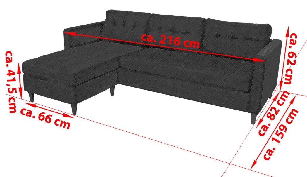 KMH®, Ecksofa Oslo, Strukturstoff grau, Breite 216 cm, Seiten vertauschbar (#204635)