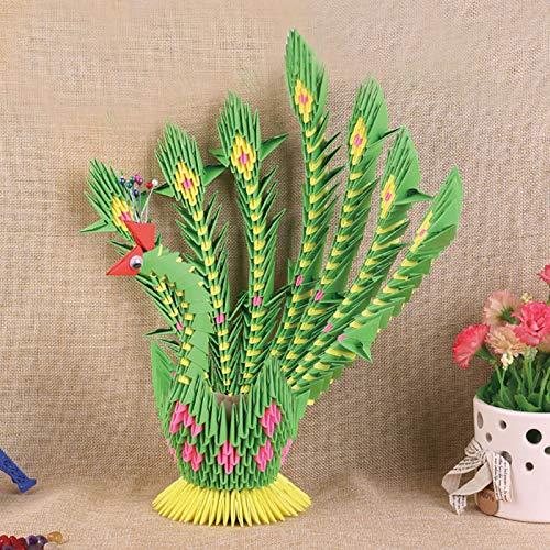 Grüne Große 3D-Origami-Gefaltetes Papier Scrapbooking Pfau Vogel-Ei Schmuck-Halter-Kit DIY Ostern Basteln Geschenk Kinder Dekor Papercraft 23cm