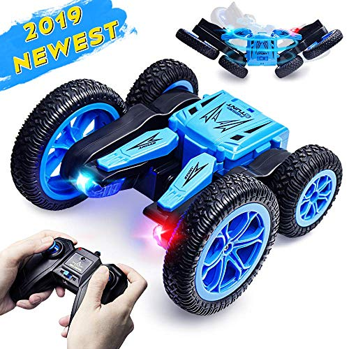 YMToyz RC Stunt Car, Kids Toys Remote Control Racing Car 4WD Double Sided and Flips with LED Lights Driving Cars Toys for Kids Toddlers (2019 Upgraded 360° Spins) (Blue)