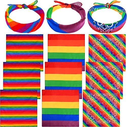 12 Stücke Regenbogen Bandanas Regenbogen Streifen Bandana Kostüm Zubehör für Party Feier Lieferungen (Farbe Satz3)