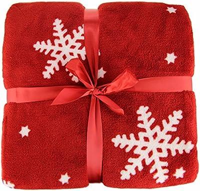 Ideal Textiles, lujo Navidad nórdico manta, copo de nieve manta de forro polar, apto para sofá cama o silla, 125cm x 150cm, color rojo, color crema