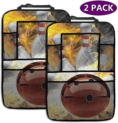 AGnight 2er Pack Fire Bowling Ball Rücksitz Auto Organizer Auto Rücksitz Protector Trittmatten für Kinder Große Aufbewahrungstaschen
