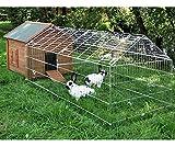 wetterfester Kaninchenstall mit Freigehege 325 x 103 x 108 cm Stall Kaninchen Hasen Hasenstall mit Bitumendach vielen Türen und Reiningungswanne für Hühner Geflügel Kleintiere Kleintierstall Hühnerstall Hasenstall