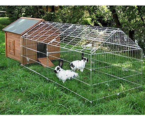 Preisvergleich Produktbild wetterfester Kaninchenstall mit Freigehege 325 x 103 x 108 cm Stall Kaninchen Hasen Hasenstall mit Bitumendach vielen Türen und Reiningungswanne für Hühner Geflügel Kleintiere Kleintierstall Hühnerstall Hasenstall
