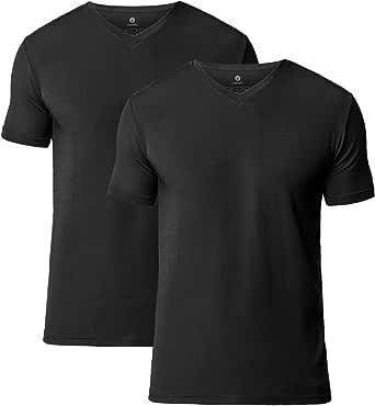 LAPASA 2 Pack Men's Undershirts Premium Stretch Modal Underwear Crew Neck & V Neck Shirts Super Soft Short Sleeve Undershirts Stretch Vests Slim Fit M07, M08