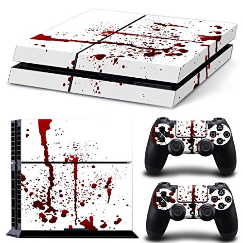dotbuy PS4 Playstation 4 Console design Foils Vinyl Skin Sticker Decal Sticker and 2 DualShock contrôleur Skins Set Blanc Blood