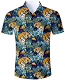 Goodstoworld Hawaiihemde Herren Freizeit Tiger Hemden Slim Fit Hawaiihemd 3D Bunt Kurzarmhemd Männer Hemd Shirt XL