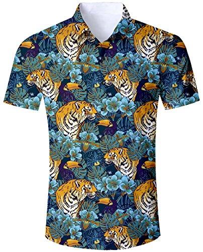 Goodstoworld camicia uomo manica corta camicie hawaiana estiva fiorata tropicale 3d stampa casual hawaiano shirt tiger in jungle