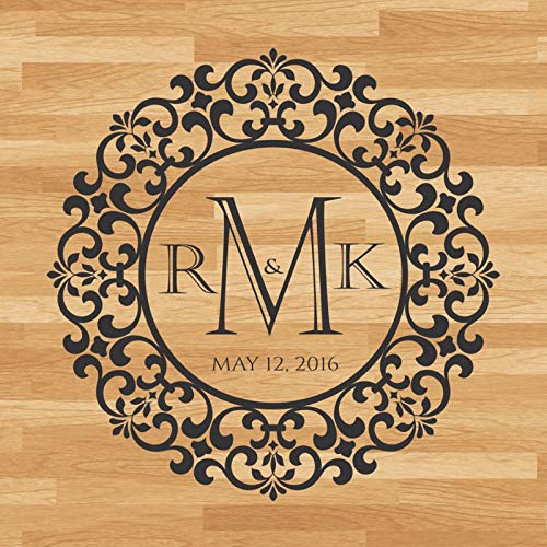 WWYJN Wedding Dancing Floor Decal, Custom Name & Date Wedding Decor, Personlized Party Floor Decoration,Wedding Sticker  114x114cm