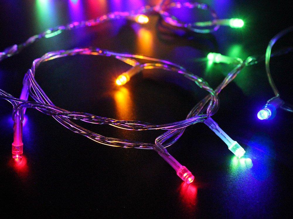 100-1000-LED-Lichterkette-Kette-Leuchte-auf-Transparent-Kabel-fr-Weihnachten-Baum-Garten-Hochzeit-Party