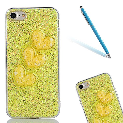 """Soft TPU Silicone Cover pour Apple iPhone 7 4.7"""", CLTPY 2in1 Jelly Bling Diamant Série Case avec Plaquage Bord Incurvée Résistant Aux Rayures Couverture pour iPhone 7 + 1x Stylet - Or de Luxe Yellow"""