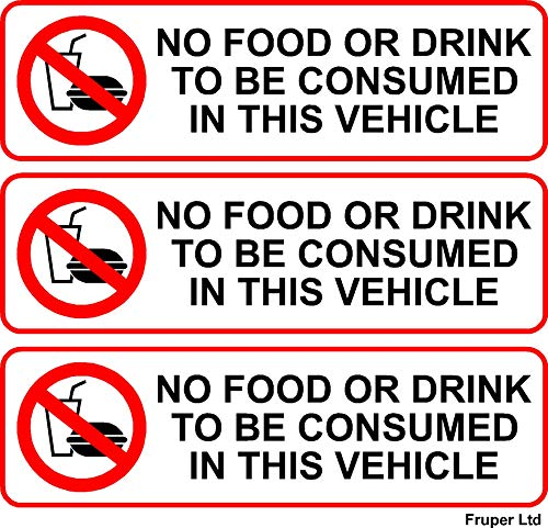 3 x No Food Or Drink to Be Consumed in This Vehicle Laminated Vinyl Stickers Signs Taxi, Minicab, Coach, Minibus