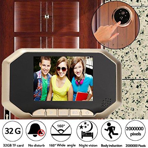 Preisvergleich Produktbild MECO Digitaler Türspion Zwei Megapixel 3,5 Inch LCD Display Türkamera Monitor Überwachungskamera Mit 8GB Speicherkarter Für Inländisches Wertpapier Golden