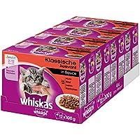 Whiskas Katzen-/Nassfutter Multipack Junior für junge Katzen Klassische Auswahl in Sauce, 48 Portionsbeutel (4 x 12 x 100 g)