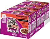Whiskas Katzen-/Nassfutter Junior <1 Klassische Auswahl in Sauce, 48 Portionsbeutel (4 x 12 x 100g)