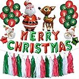 Twocc-Weihnachten, Frohe Weihnachten Luftballons Set Weihnachtsmann Merry Christmas Party Dekorationen