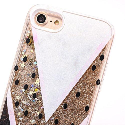 iPhone 7 4.7 Hülle, Voguecase Silikon Schutzhülle / Case / Cover / Hülle / TPU Gel Skin für Apple iPhone 7 4.7(Perlen Treibsand-Hustle Baby-Pink) + Gratis Universal Eingabestift V-förmiger Marmor / Gold