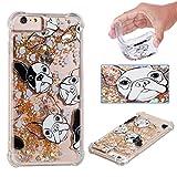 BoxTii iPhone 6 Plus Hülle iPhone 6s Plus Hülle [mit Frei Panzerglas Displayschutzfolie], Liquid Wasser Glitzer TPU Silikon Hülle für Apple iPhone 6 Plus / 6S Plus (Gold, Hund)