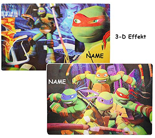 2 TLG. Set _ 3-D Unterlagen -  Teenage Mutant Ninja Turtles  incl. Name - 42 cm * 29 cm - Tischunterlage / Eßunterlage / Platzdeckchen / Malunterlage / ()